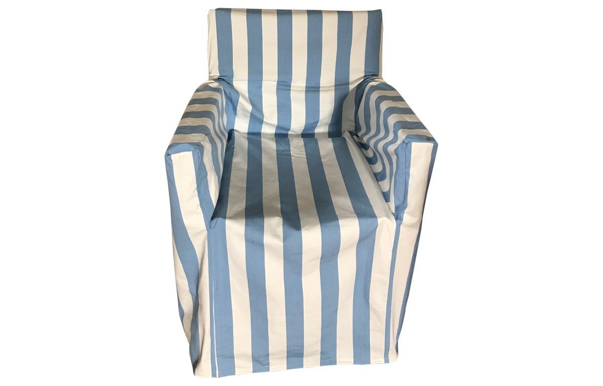 Sky Blue and White Stripe Directors Chair Loose Covers