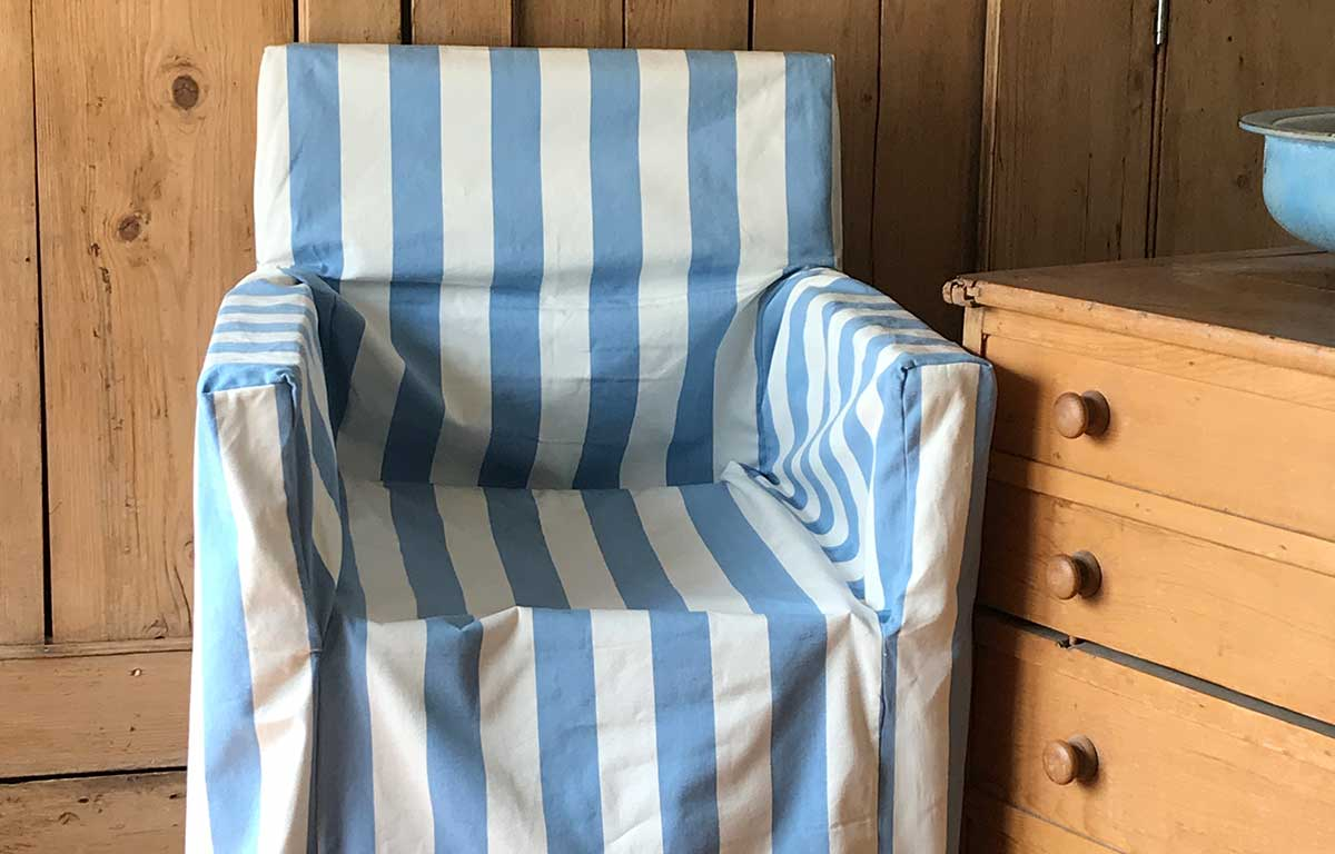 Sky blue and white- Directors Chair Loose Covers