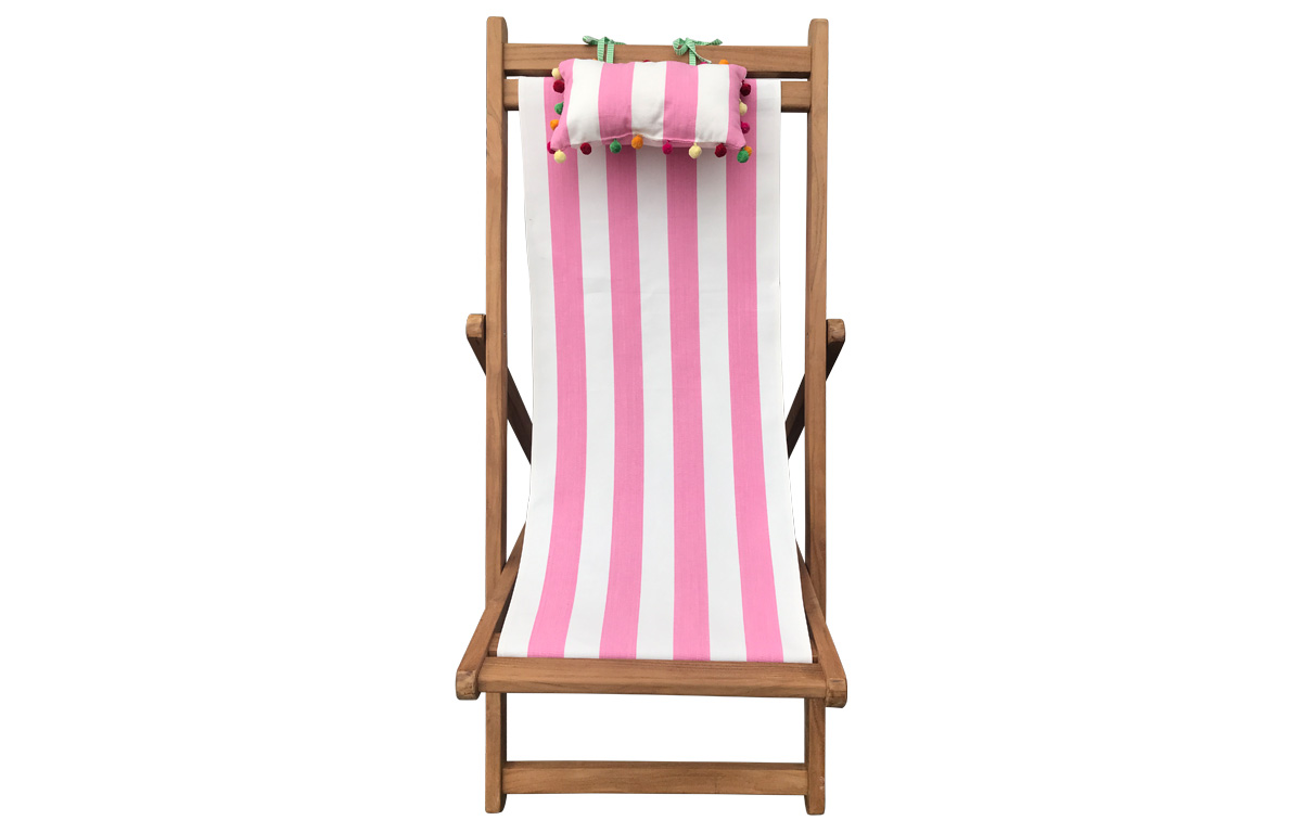 Pink and White Stripe Teak Deckchair with Headrest and Pockets