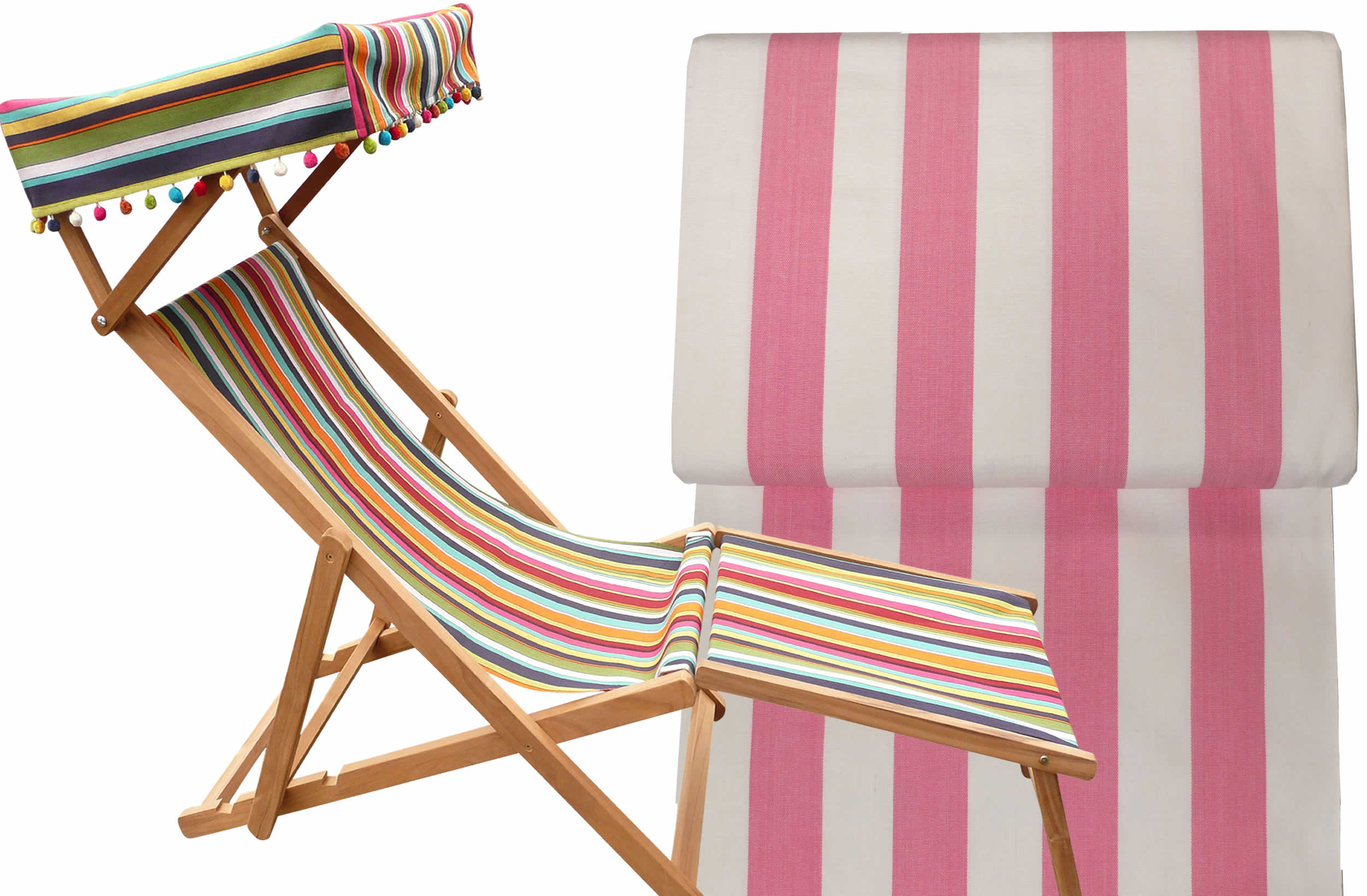 Pink and White Edwardian Deckchairs with Canopy and Footstool