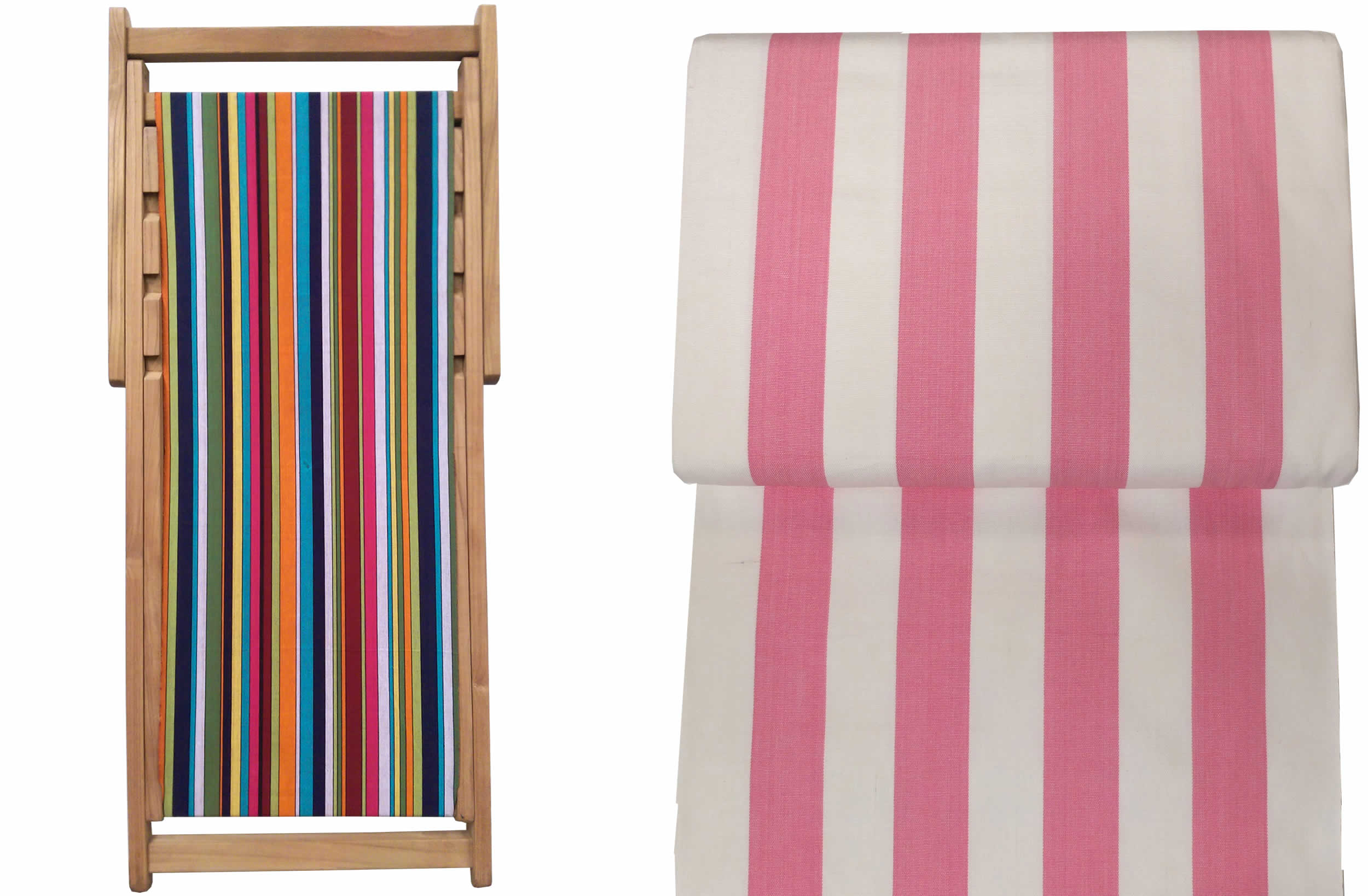 Discus  Pink and White Striped Teak Deck Chairs