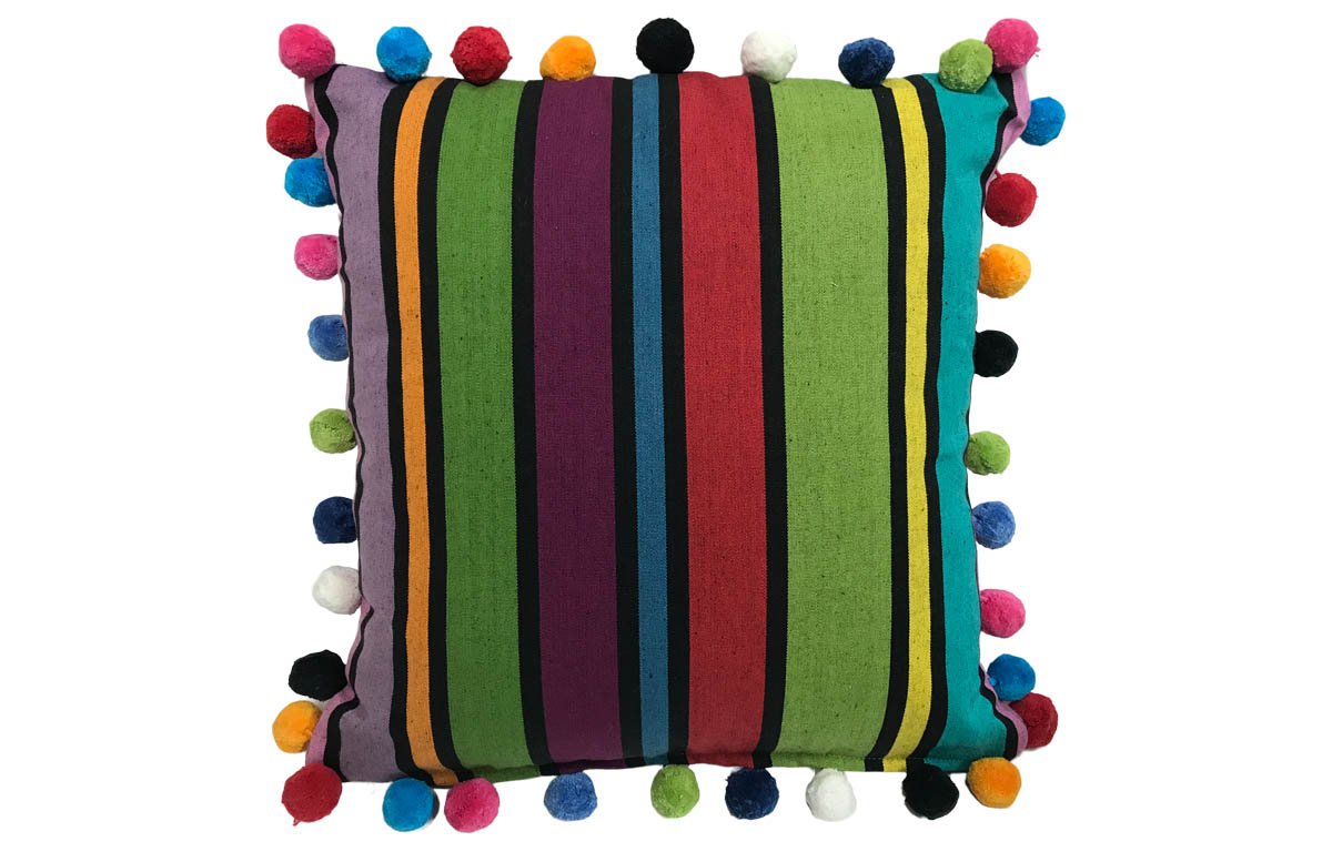Striped Pompom Cushion 40x40cm green, blue, black