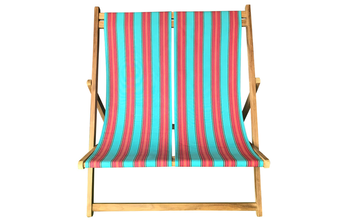 Light Blue and Red Stripe Double Deck Chair