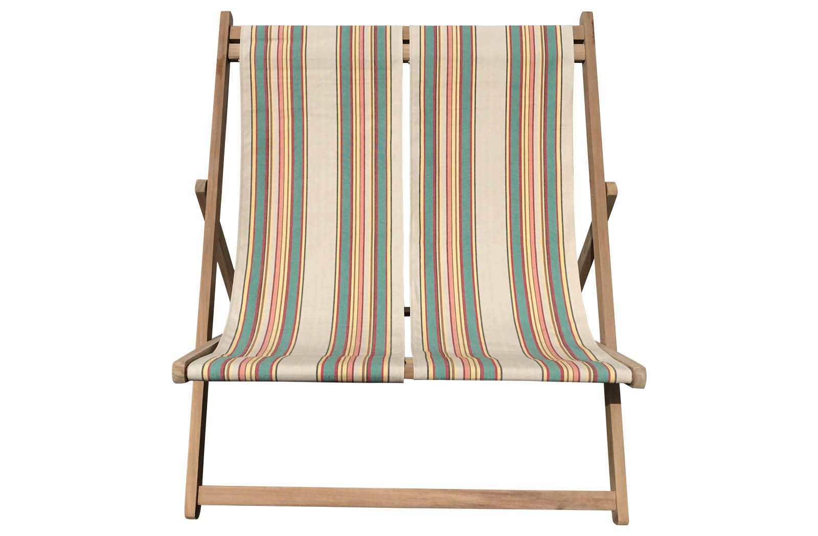 Double Deckchair beige, jade green, red stripes