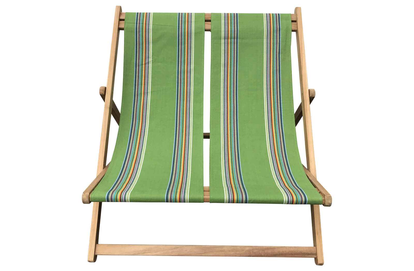 Green Double Deckchair with rainbow stripes