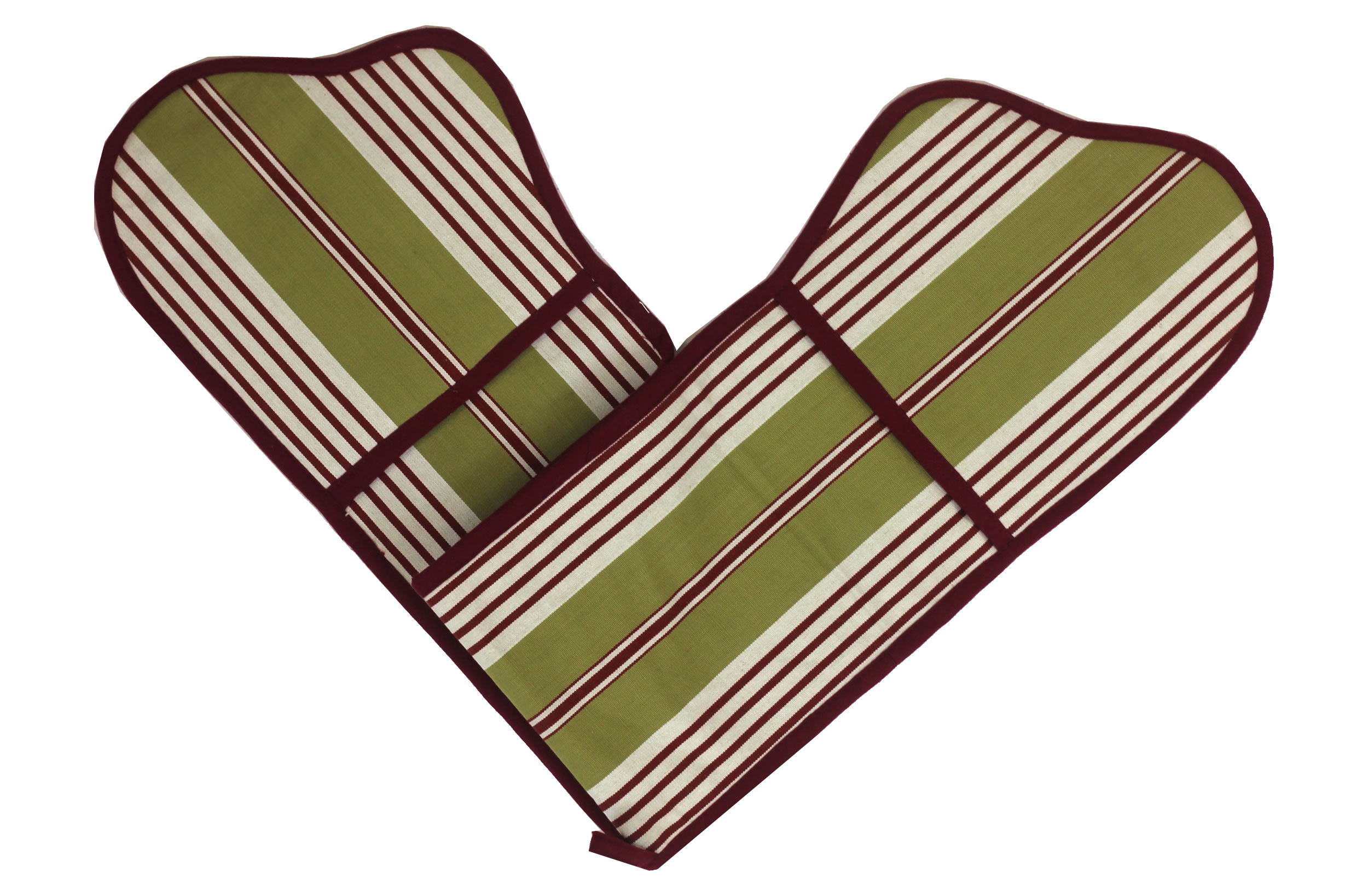 Olive Striped Oven Gloves | Double Oven Mitts Billiards Stripes