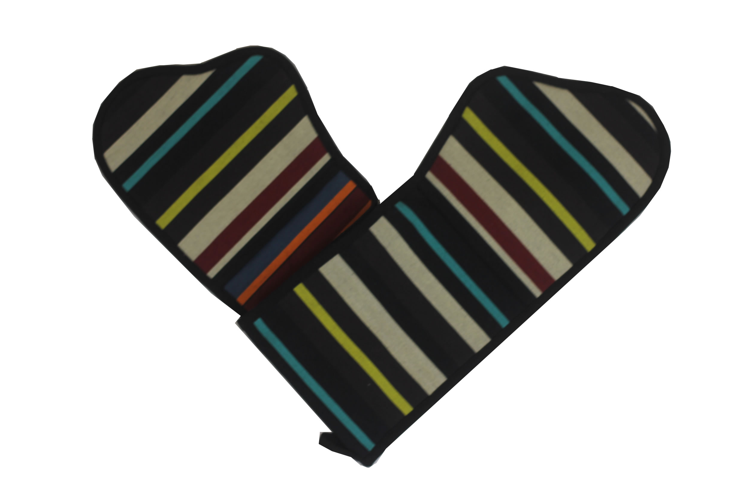Black Striped Oven Gloves | Double Oven Mitts Shooting Stripes
