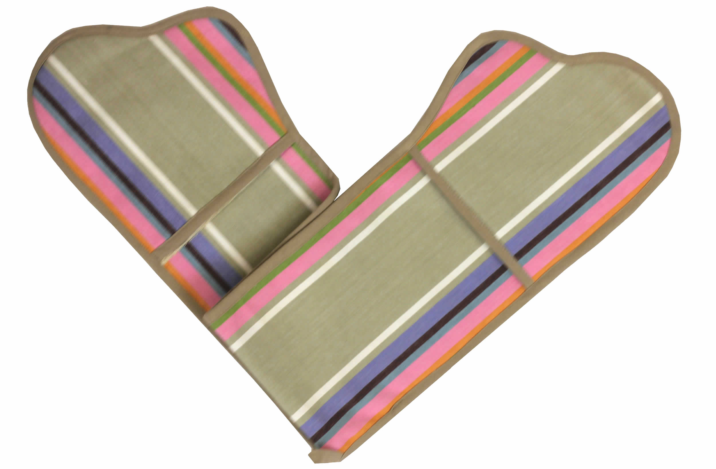 Pink Striped Oven Gloves | Double Oven Mitts Squash Stripes