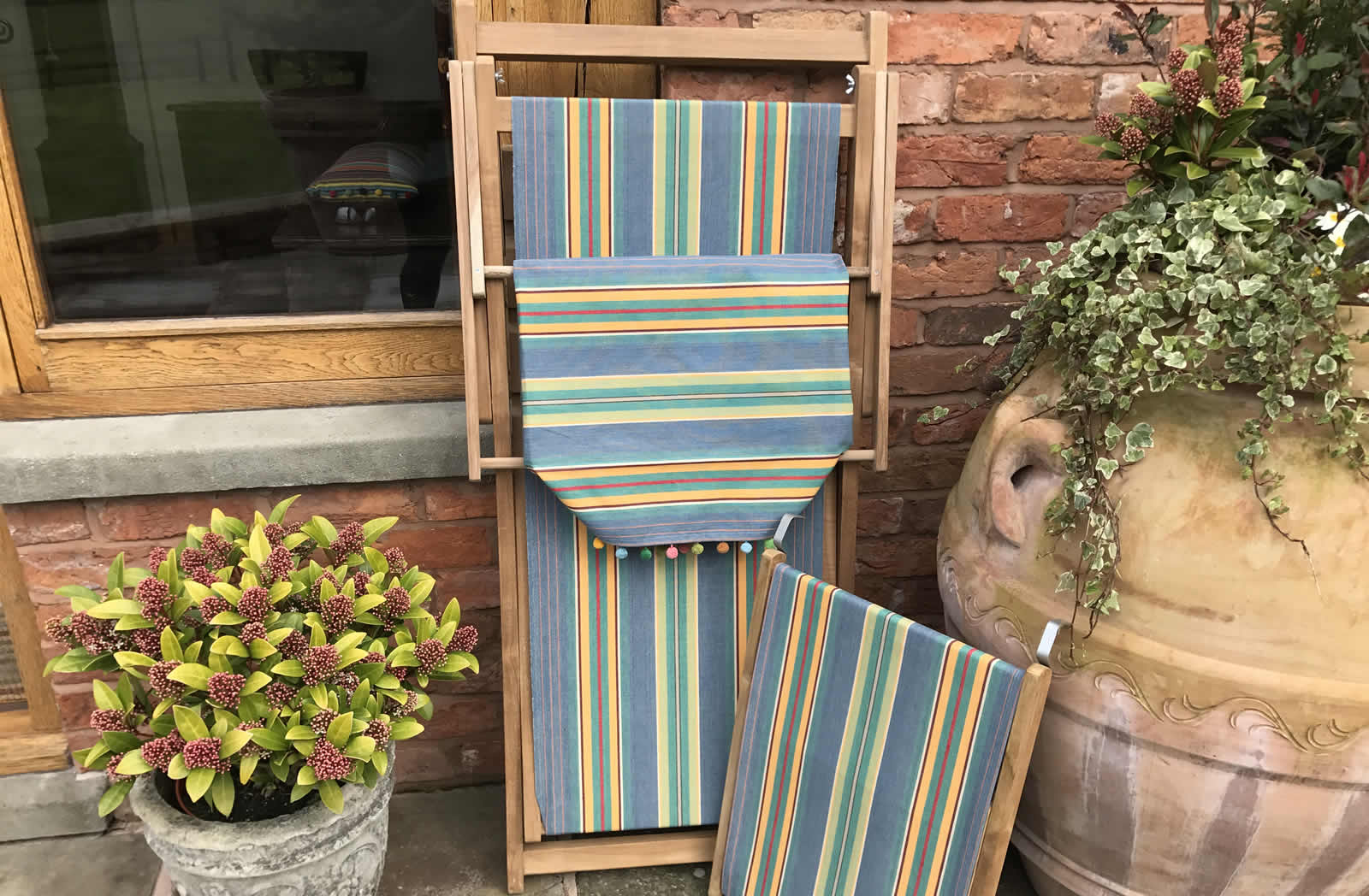 Sky blue, jade green- Edwardian Deckchairs with Canopy and Footstool
