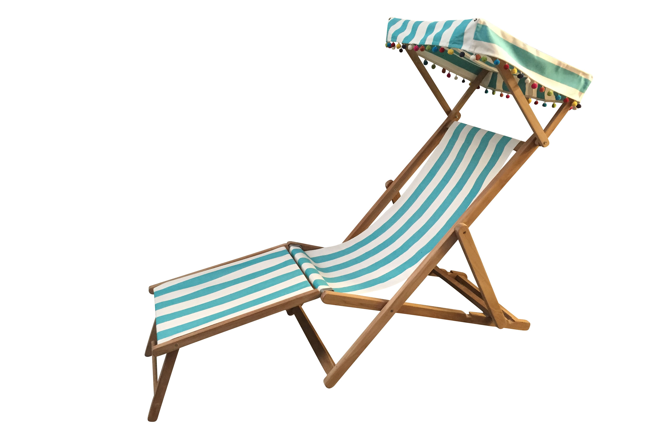 Turquoise and White Striped Edwardian Deckchairs with Canopy and Footstool