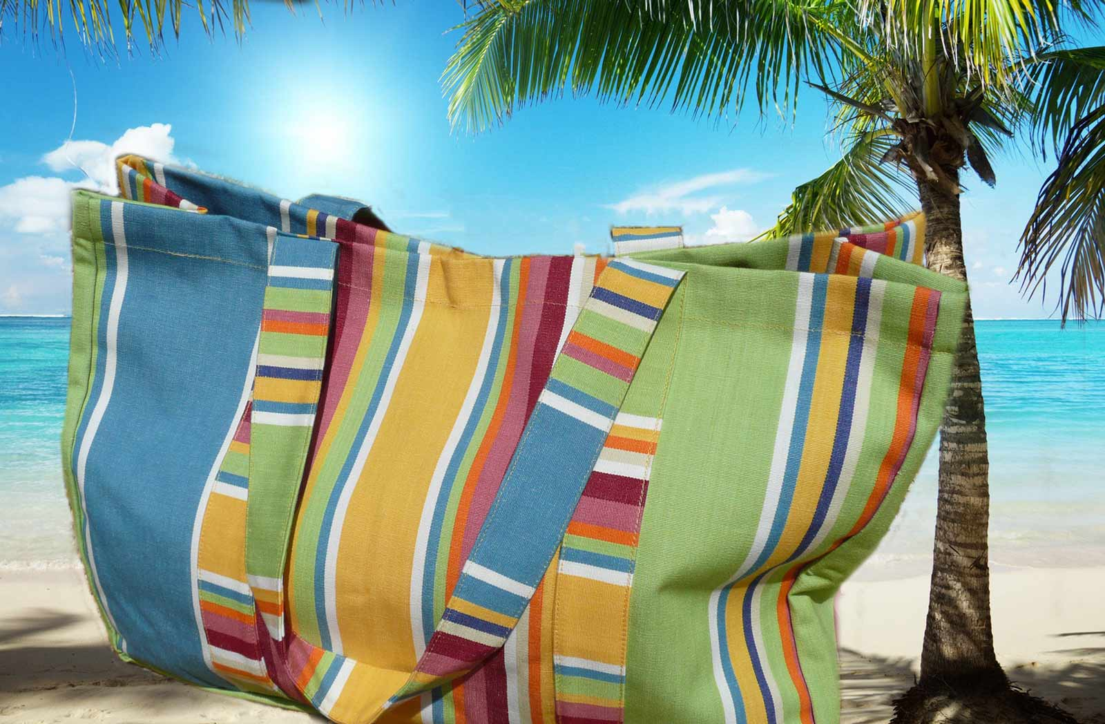 Yellow Extra Large Beach Bags - Cricket Yellow Stripes