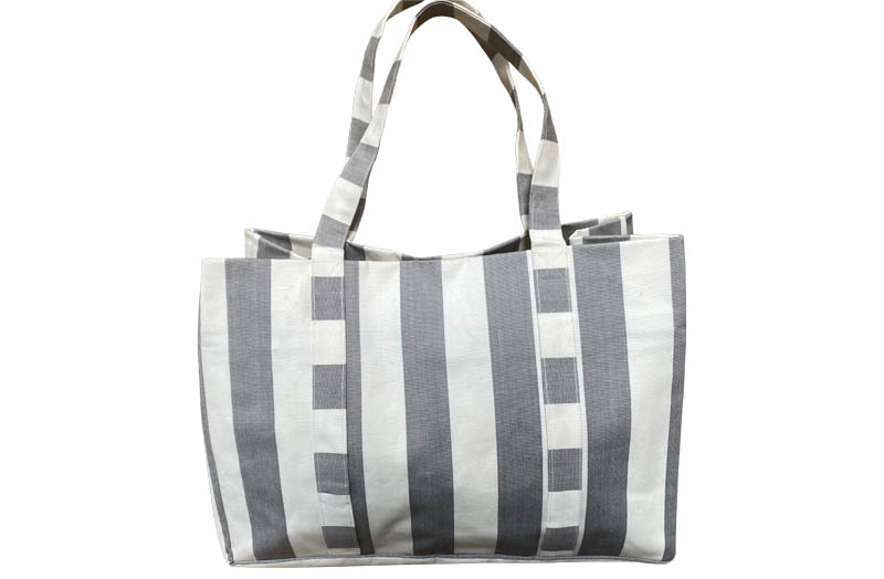 Grey and White Stripe Beach Bags