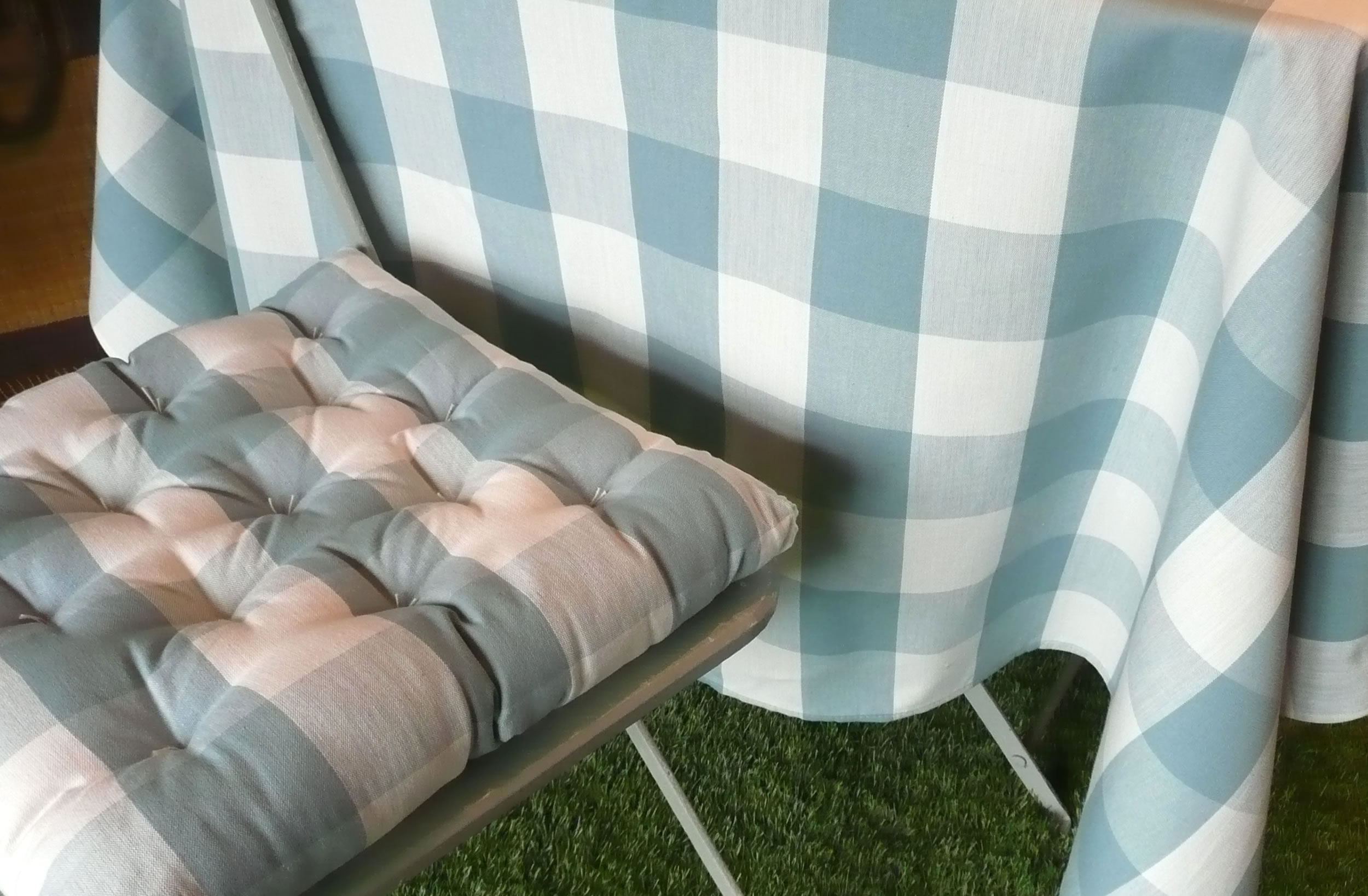 Teal and White Gingham Fabrics Large Checks