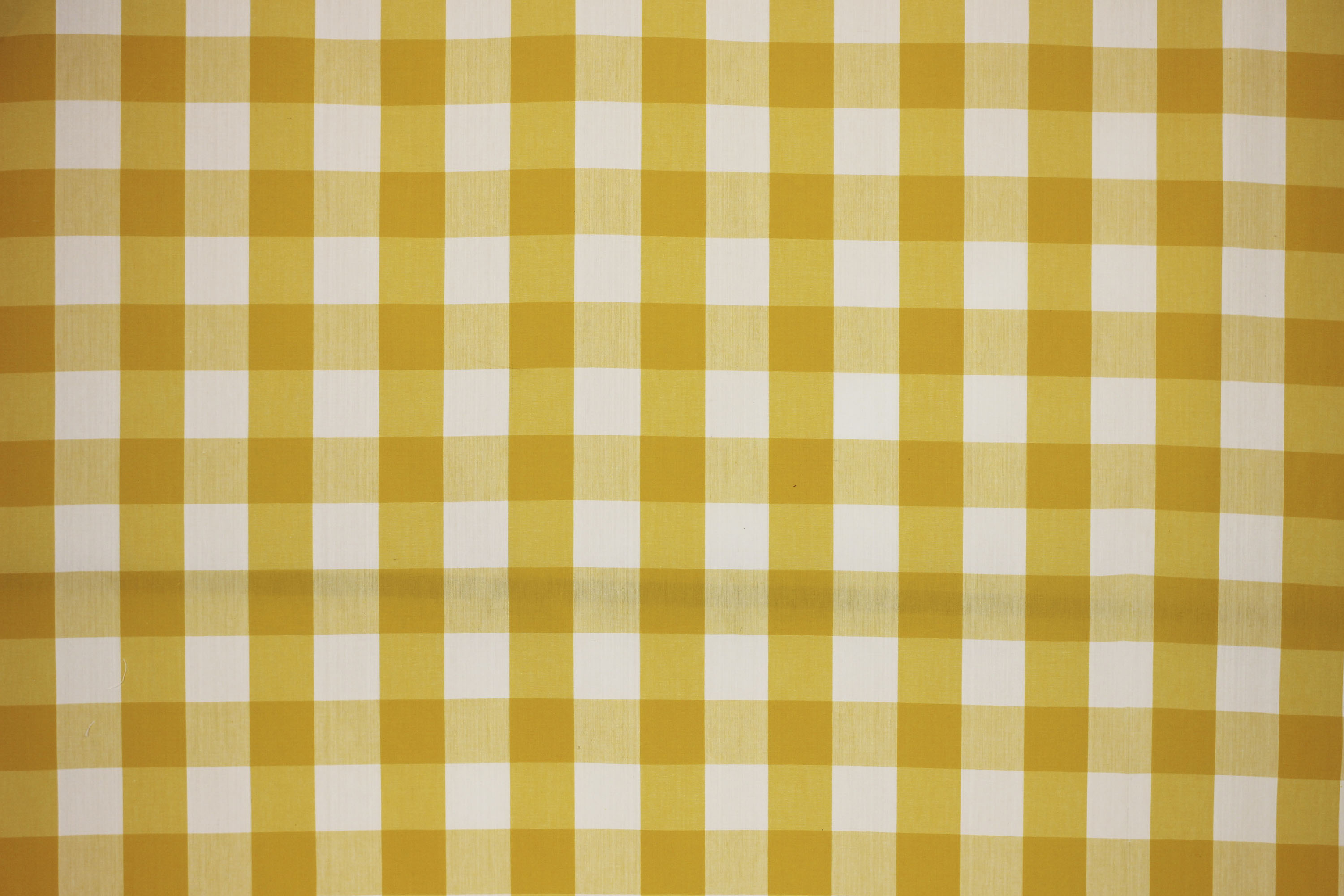 Yellow White Gingham Oilcloth Wipeable Fabrics Large Check | The ...