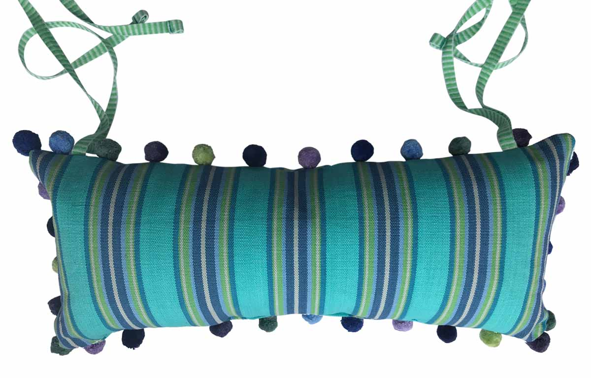 Deckchair Headrest Cushions | Tie on Pompom Headrest Pillows Pillows turquoise, blue, green