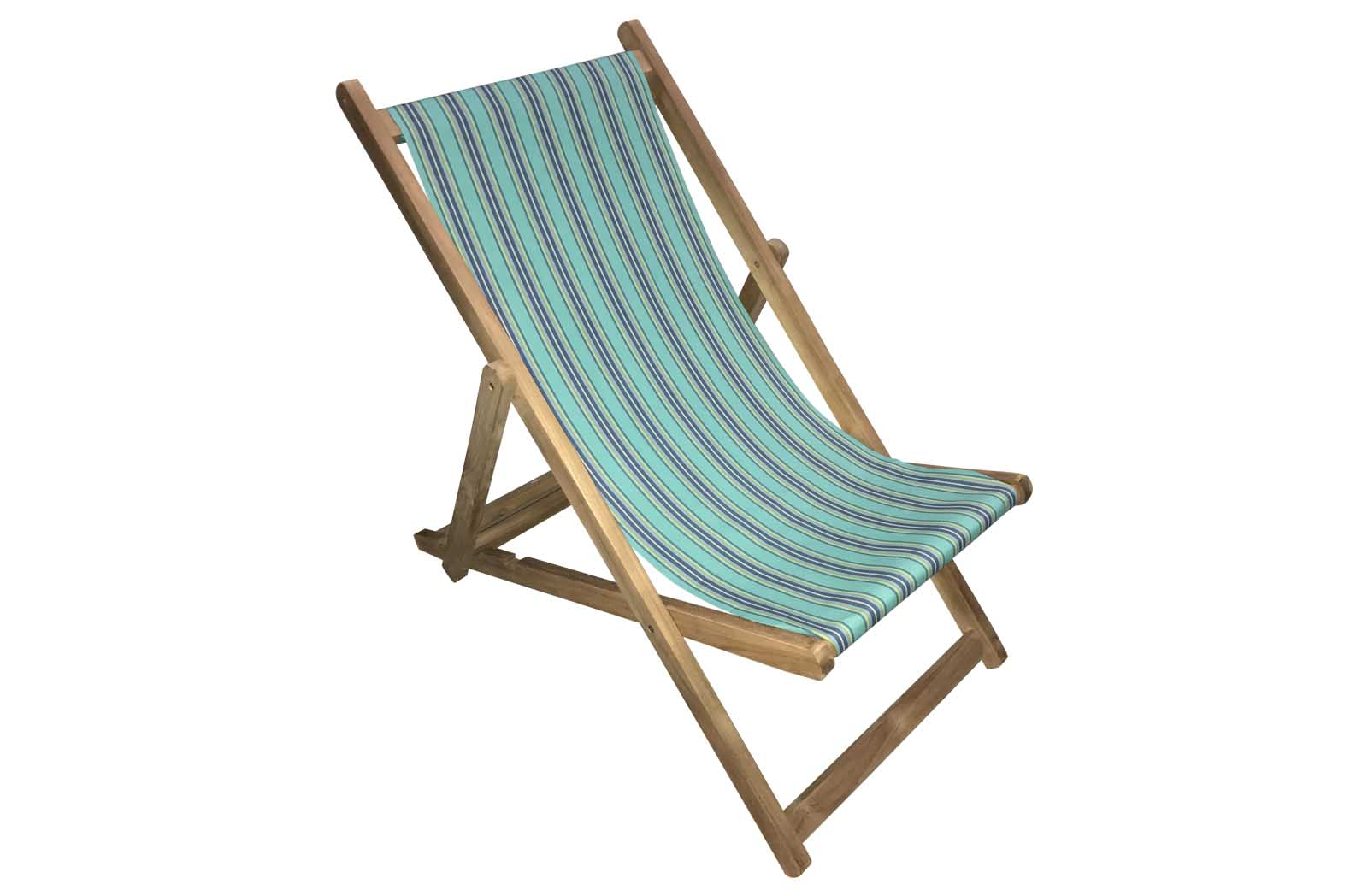 Turquoise Navy Stripe Deckchairs | Wooden Folding Deck Chairs Fencing Stripes