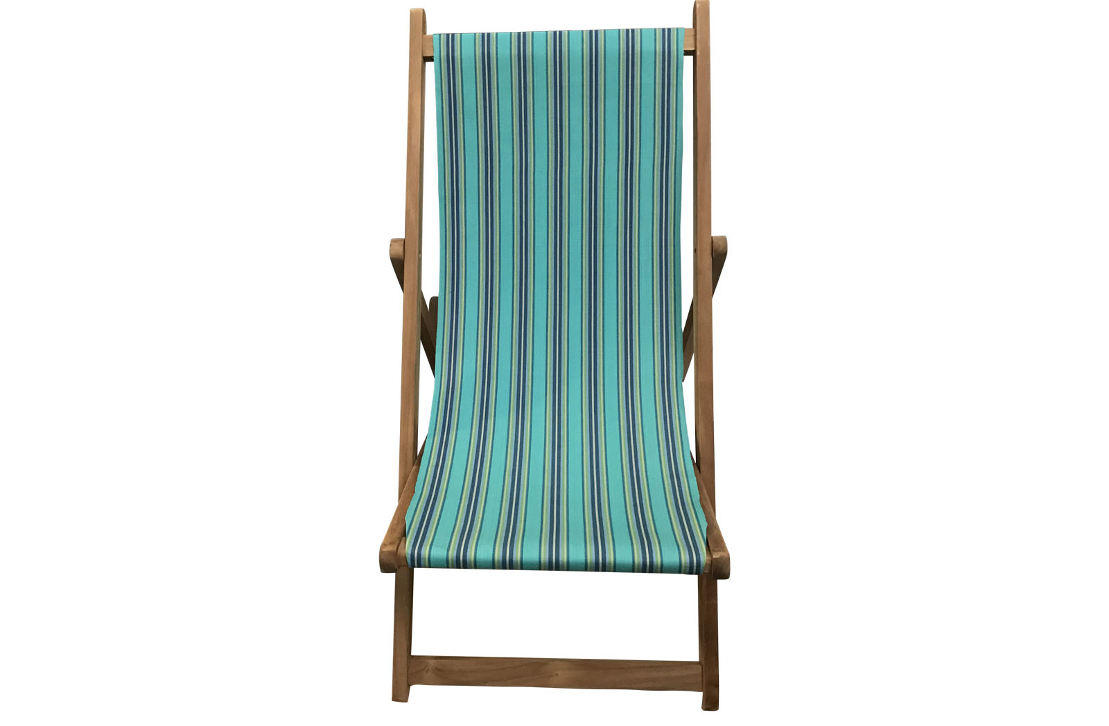 Turquoise Navy Stripe Deckchairs Wooden Folding Deck