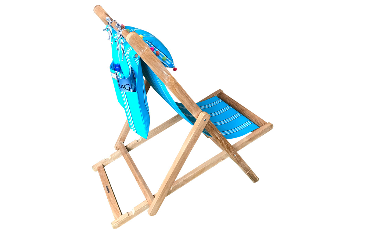 Turquoise Stripe Teak Deckchair with Headrest and Pockets