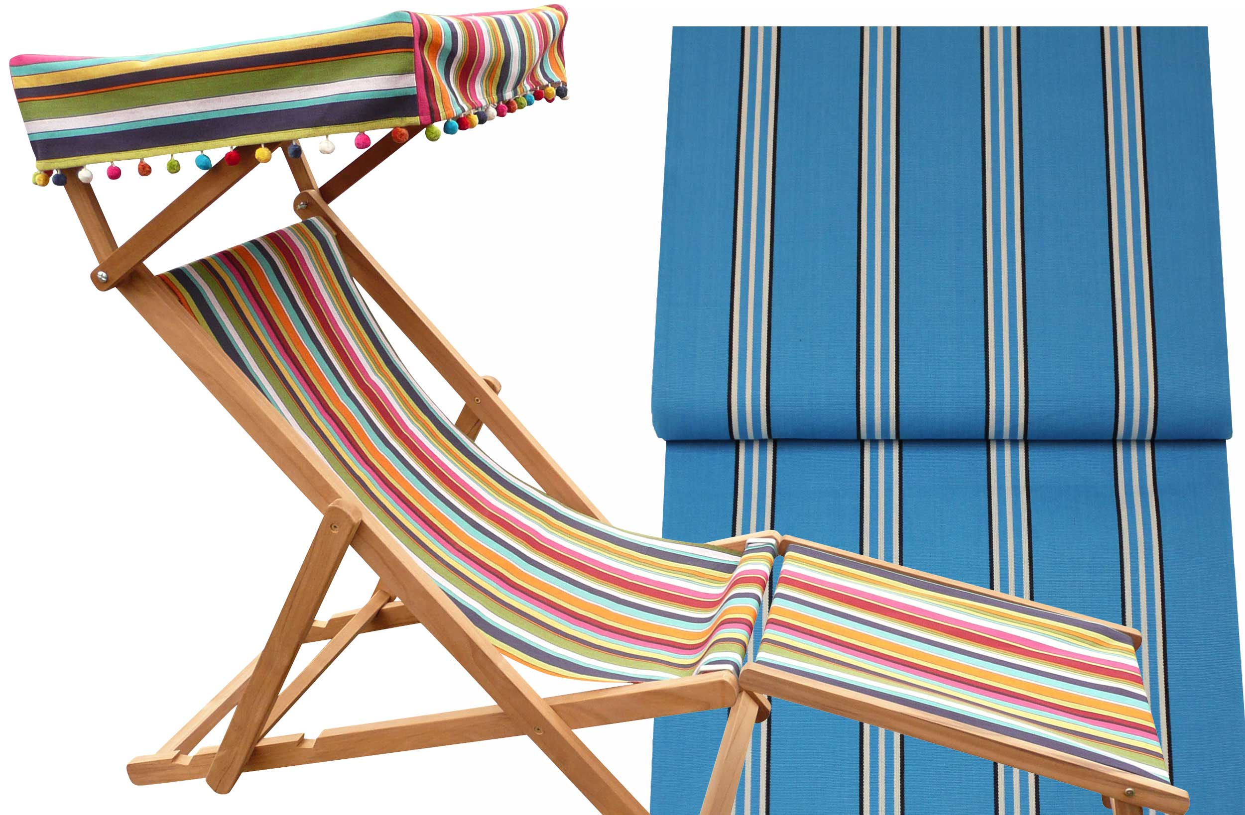 Edwardian Deckchairs with Canopy and Footstool turquoise, white, black