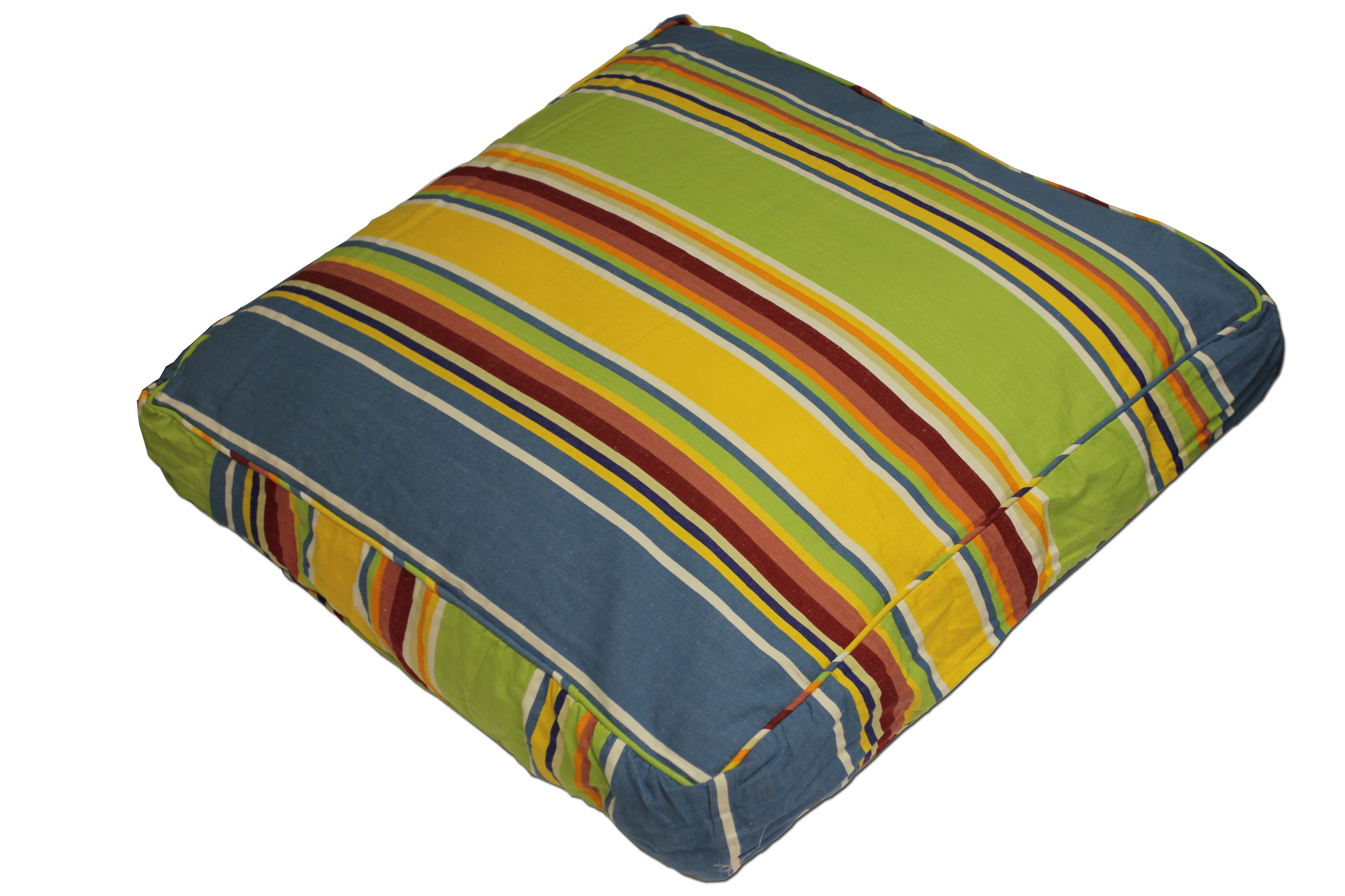 Yellow Large Floor Cushions - Cricket Yellow Stripe