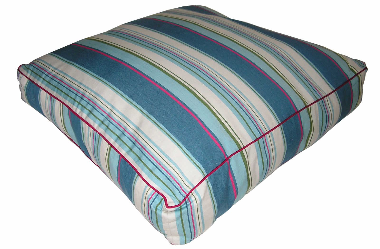 Petrol Blue Striped Floor Cushions | Large Square Piped Floor Cushions Petrol Blue  Pale Blue  Cream  Stripes