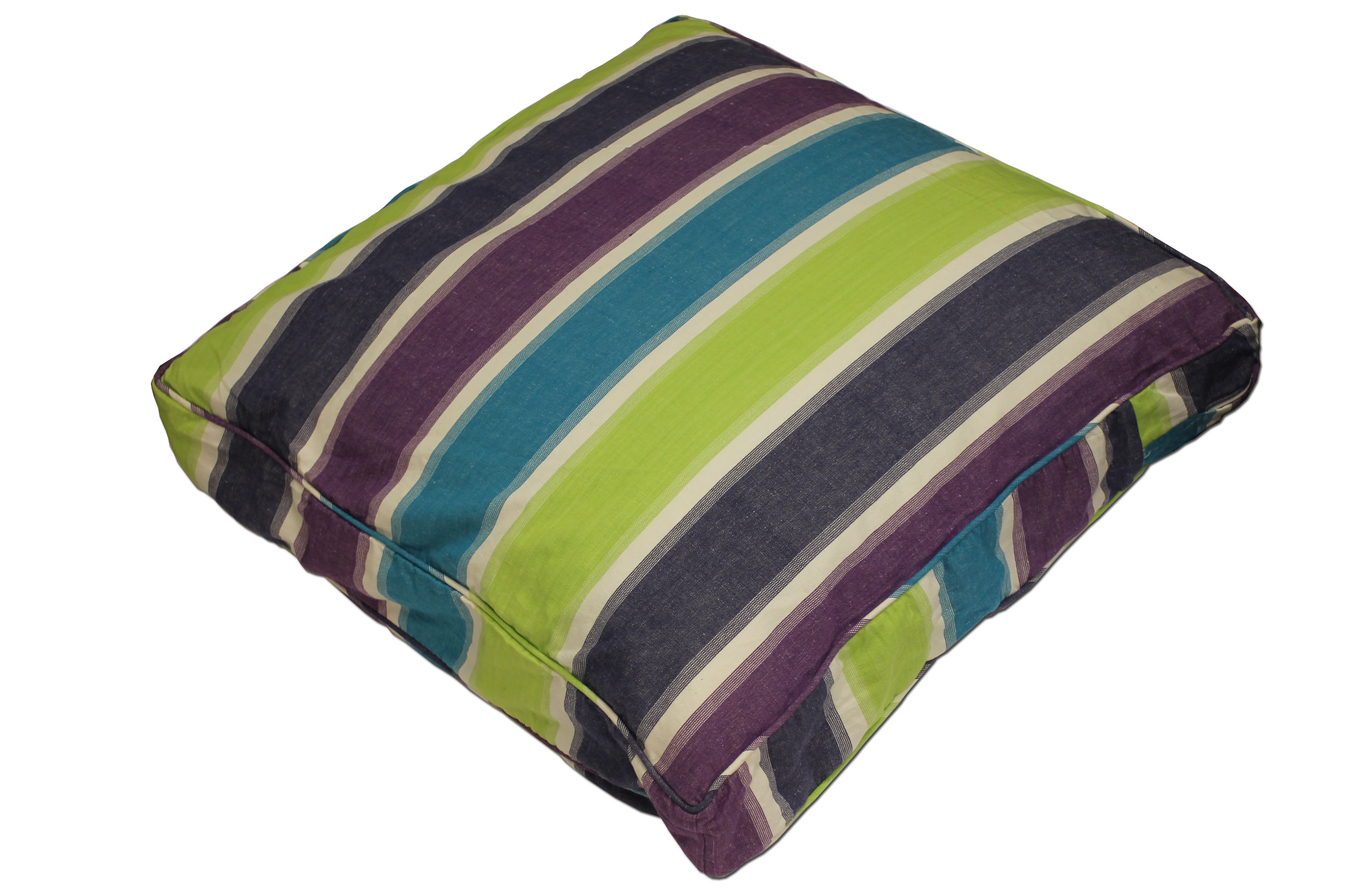 Green Large Floor Cushions - Fishing Stripe