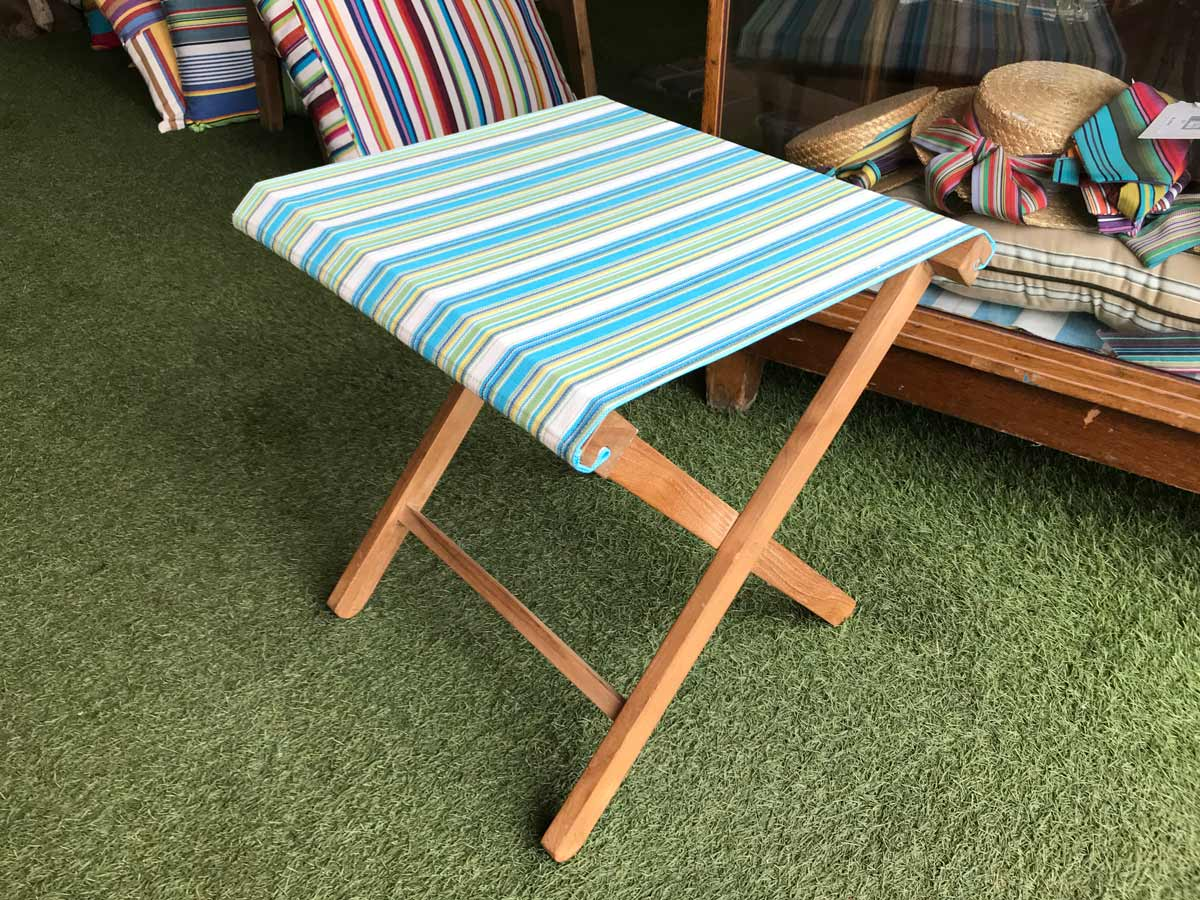 Portable Folding Stool with turquoise, green, white stripe seat
