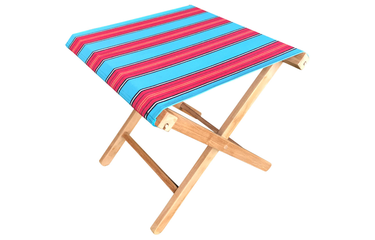 Portable Folding Stools with Striped Seats light blue, red