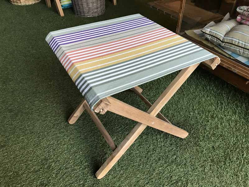 Folding Wooden Stool with Sage green, purple, mustard, rust, white stripe seat