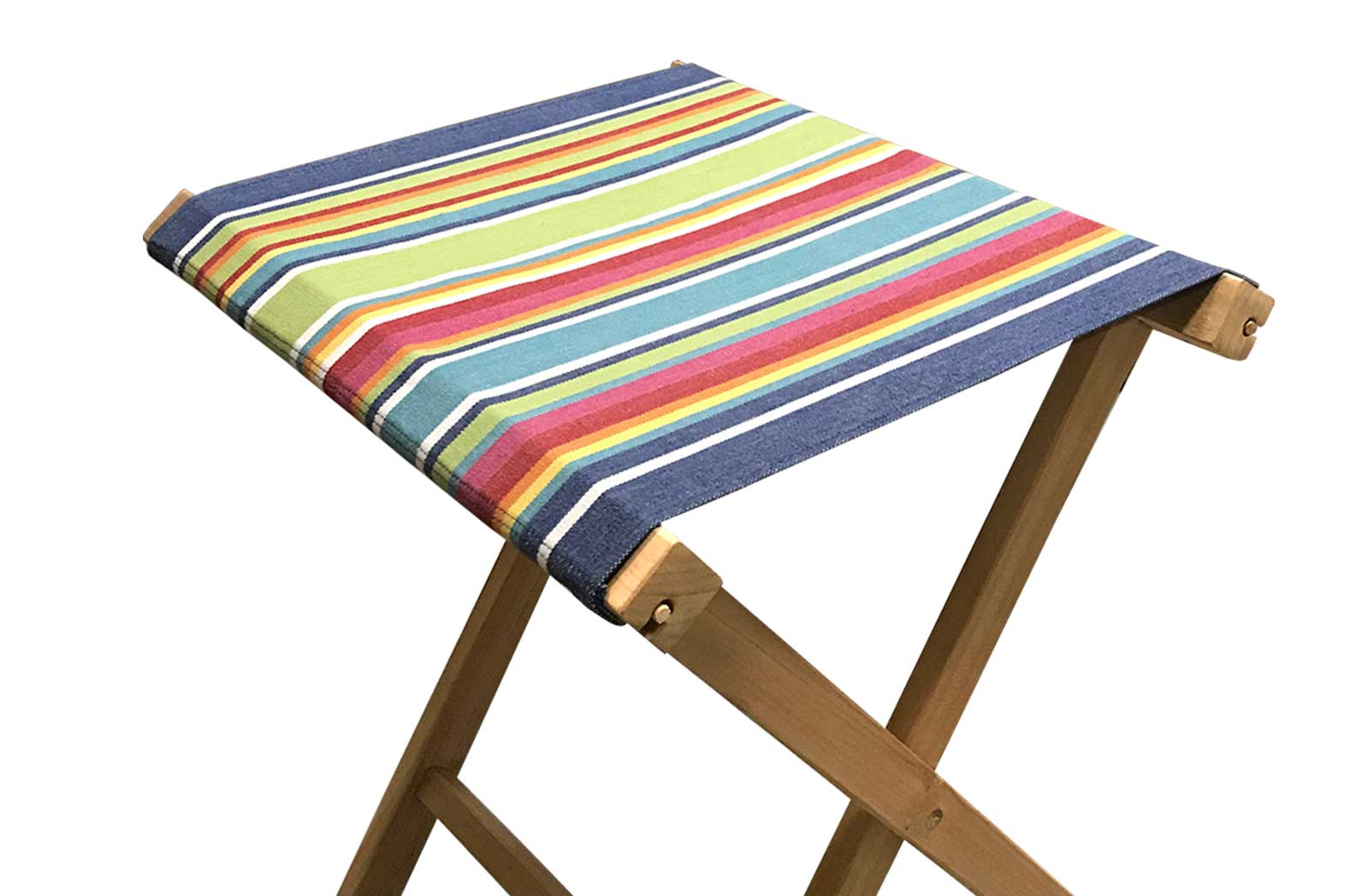 blue, green, red - Portable Folding Stools with Striped Seats