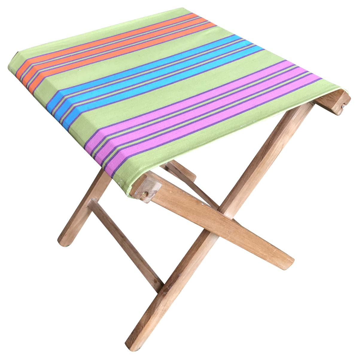 Portable Folding Stool with green, turquoise, pink stripe seat