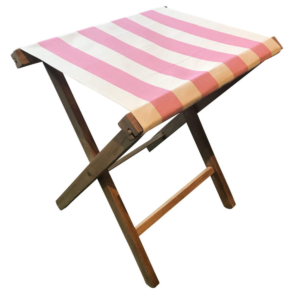 Portable Folding Stools with Striped Seats pink