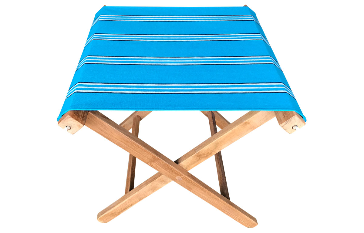 turquoise, white, black- Portable Folding Stools with Striped Seats
