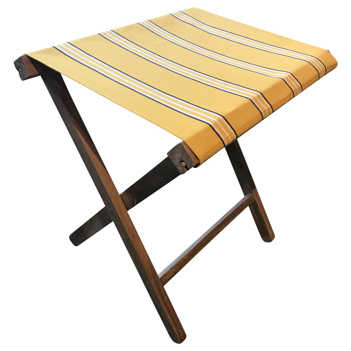 Yellow stripe folding wooden stool for events