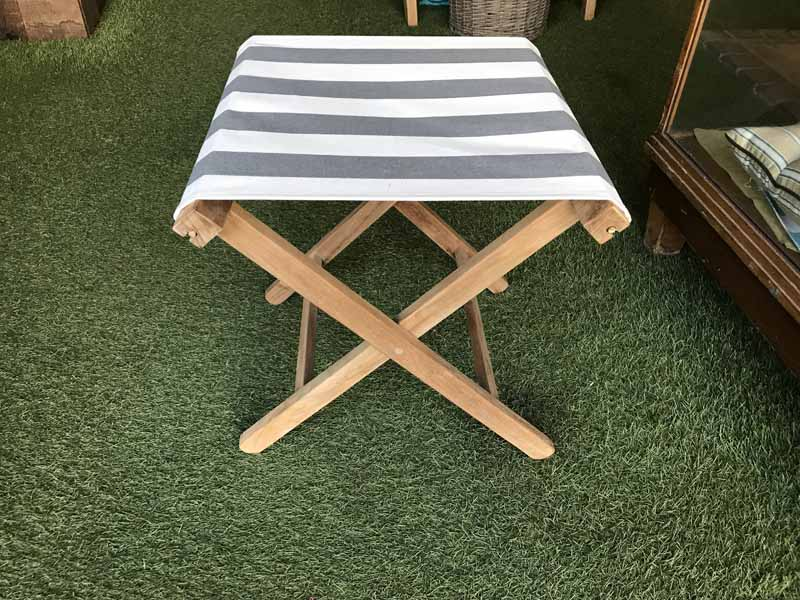 charcoal, white- Portable Folding Stools with Striped Seats
