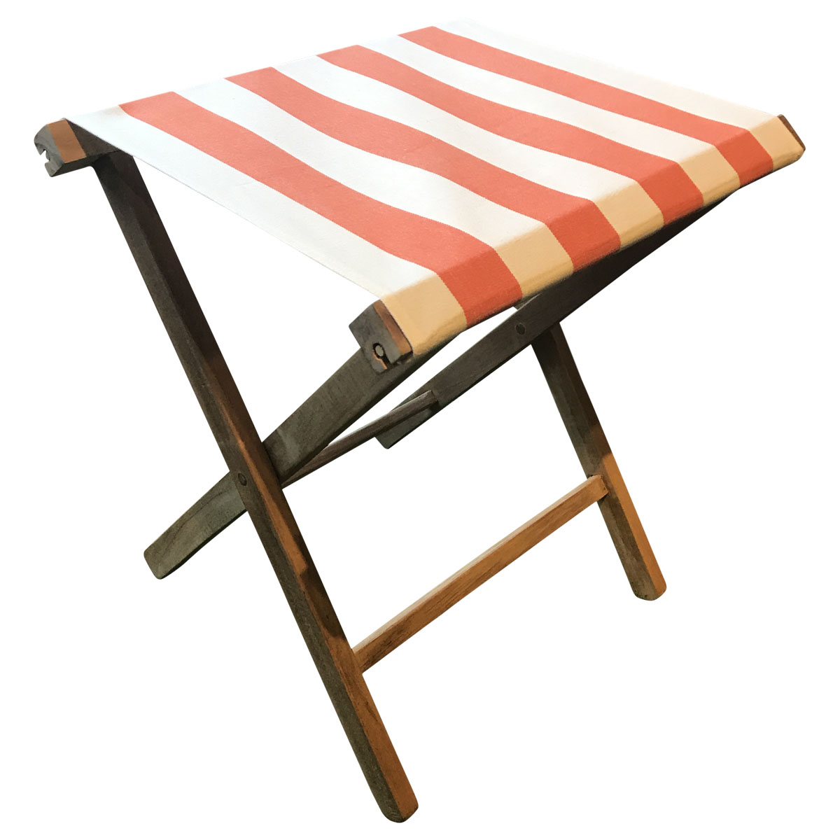 Portable Folding Stools with Striped Seats orange white