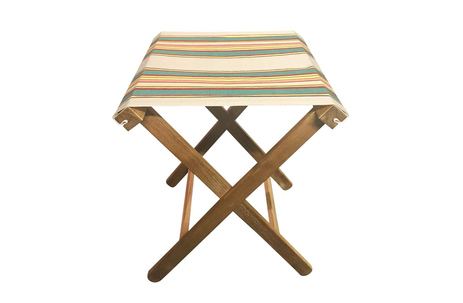 beige, jade green, red - Portable Folding Stools with Striped Seats