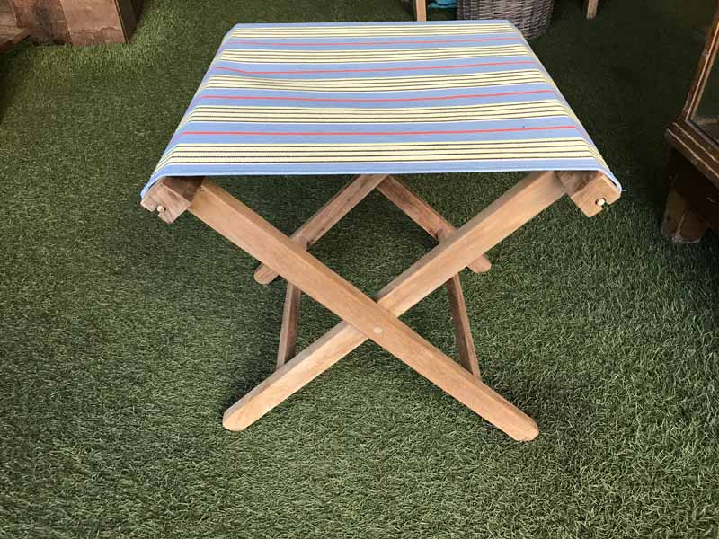 sky blue, lemon, black - Portable Folding Stools with Striped Seats