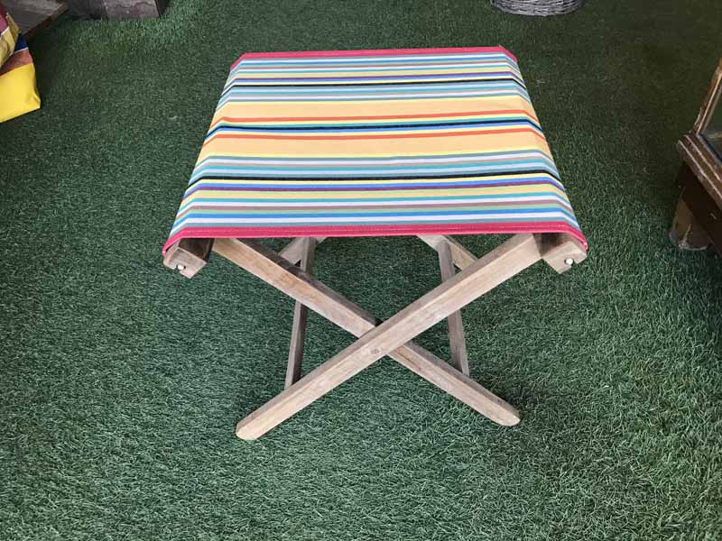 medley of colours in narrow stripes- Portable Folding Stools with Striped Seats
