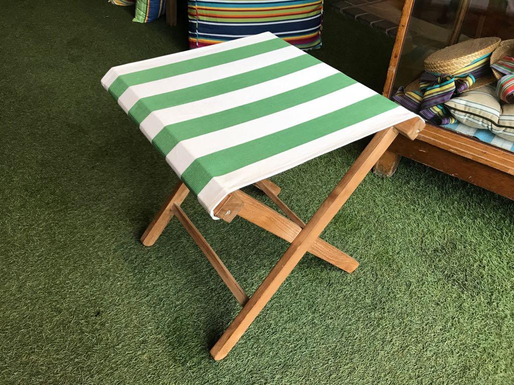 Green and White Folding Stool