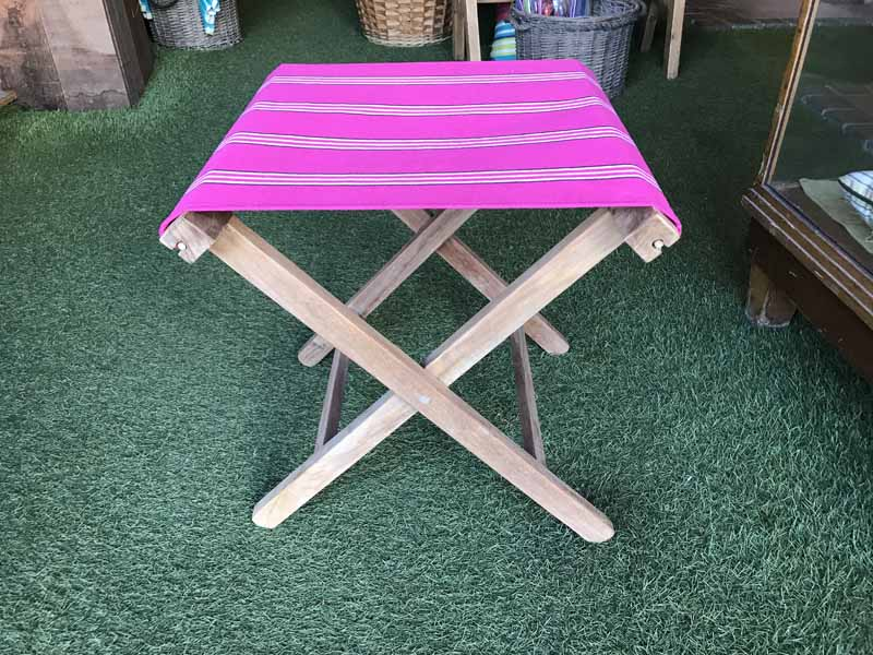 pink, white, black- Portable Folding Stools with Striped Seats