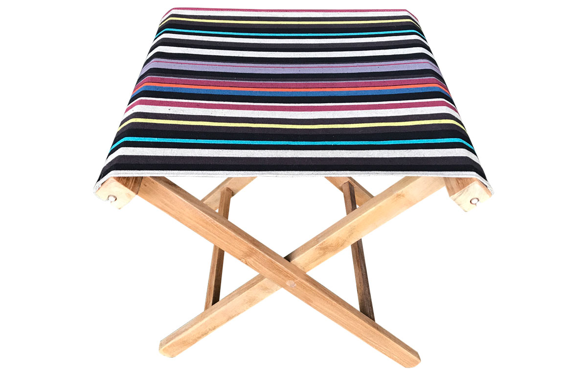 black, beige, brown - Portable Folding Stools with Striped Seats
