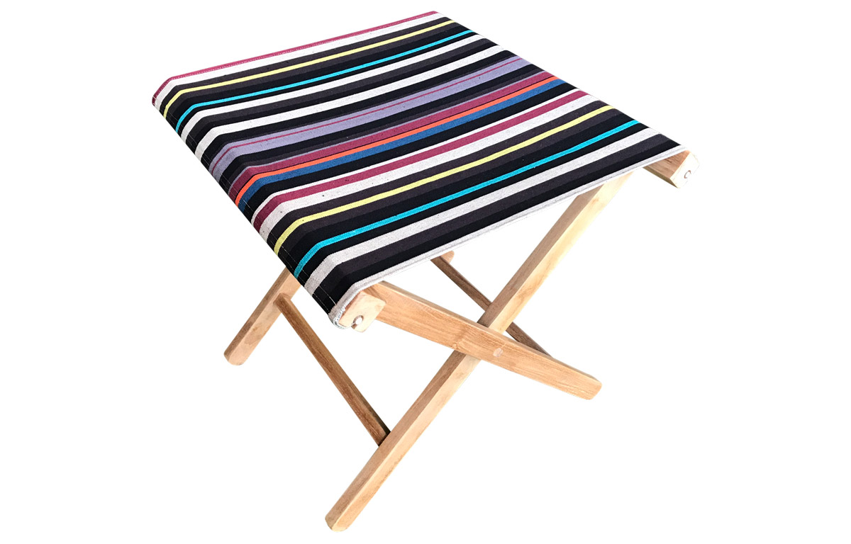 Folding Wooden Stool with Black Striped Seat
