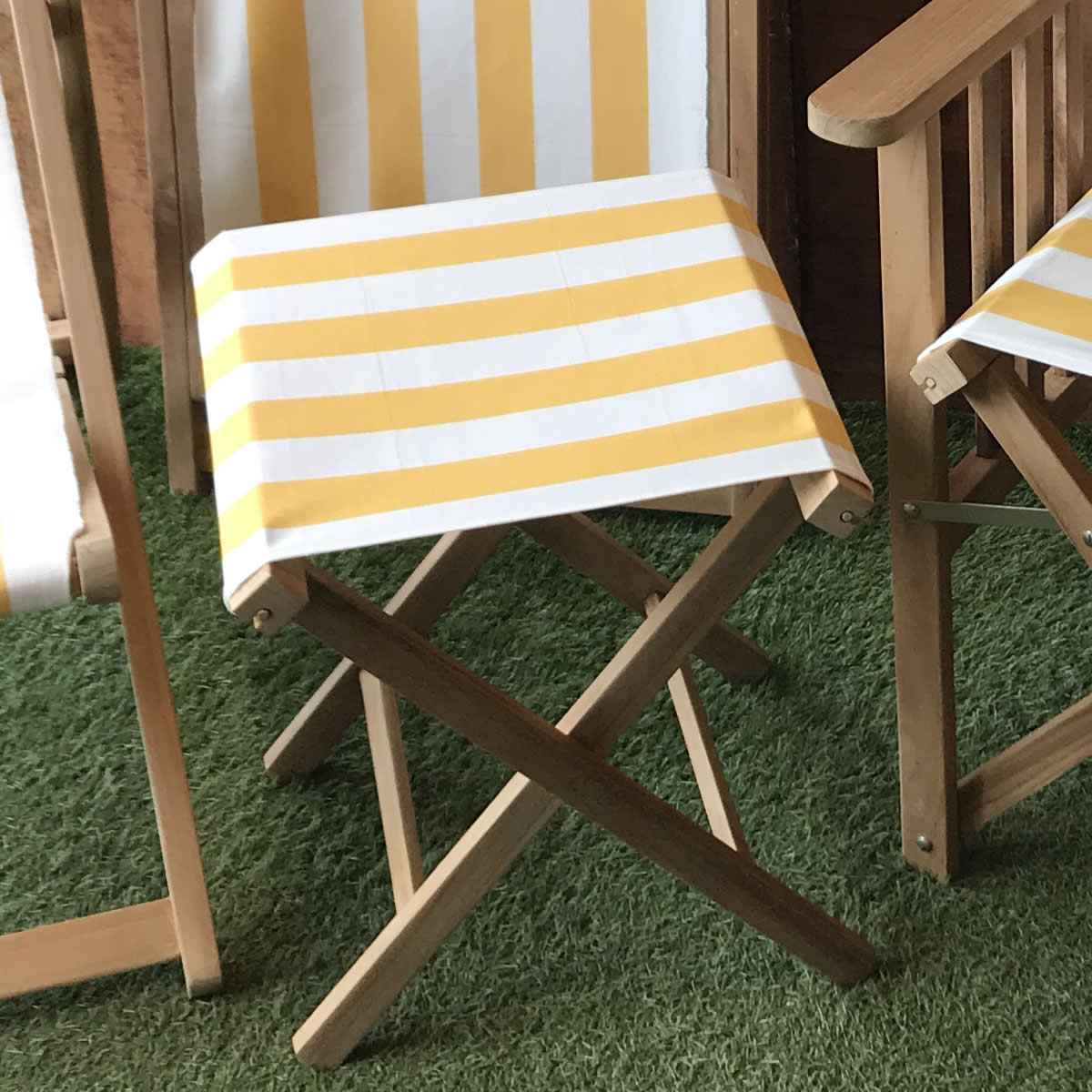 Portable Folding Stools with Striped Seats yellow, white