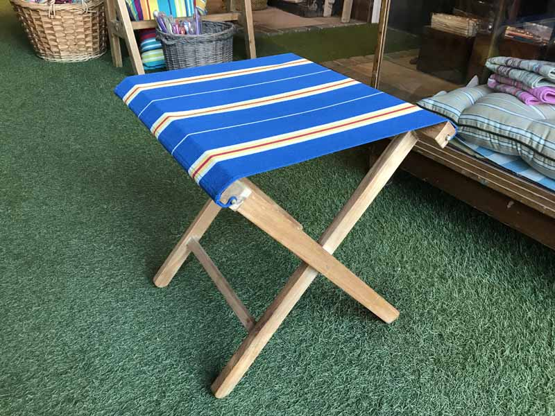 Portable Folding Stool with navy blue striped seat