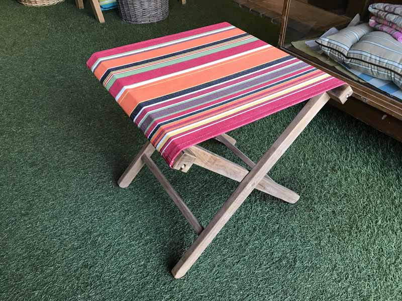 Orange stripe folding wooden stool