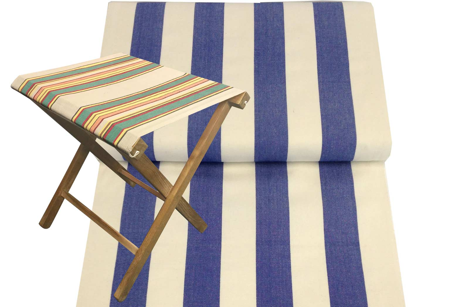 Portable Folding Stools with blue, white Striped Seats