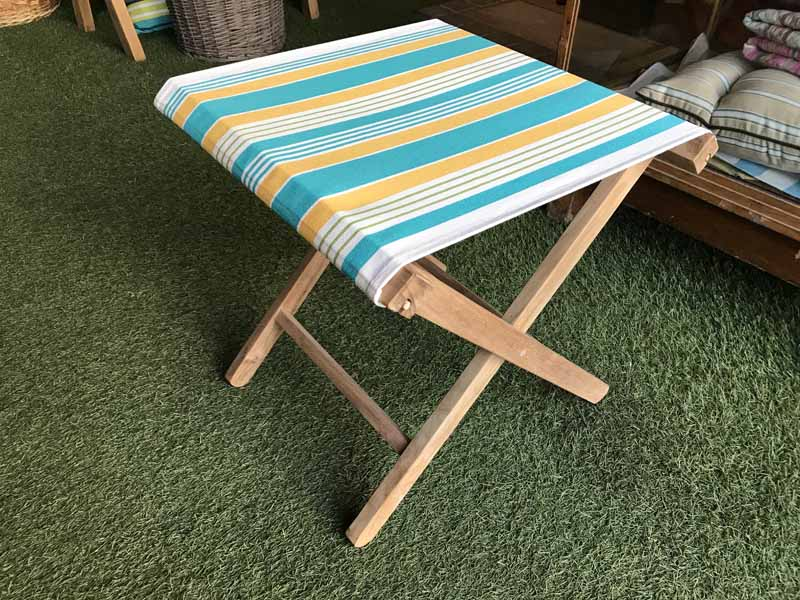Wooden Folding Stool with White,Turquoise,Yellow Striped Seat