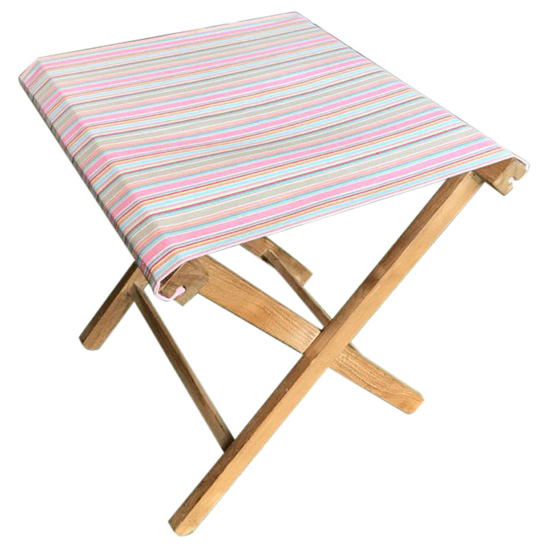 Portable Folding Stools with Striped Seats pink, taupe, blue