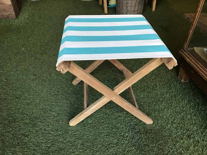 turquoise, white- Portable Folding Stools with Striped Seats